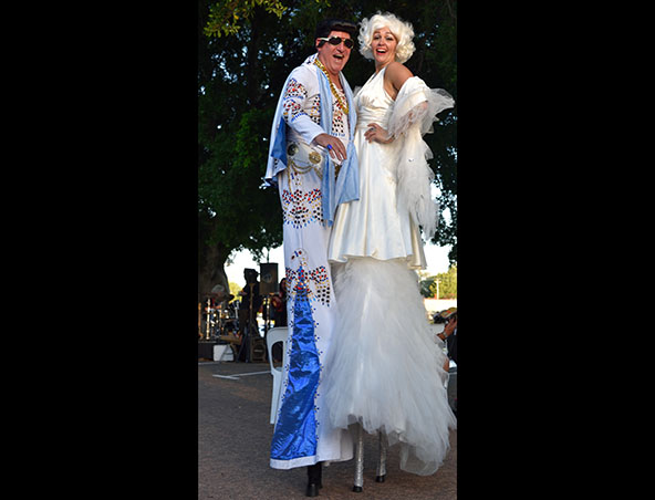 Elvis and Marilyn Stilt Walkers Perth - Roving Entertainment